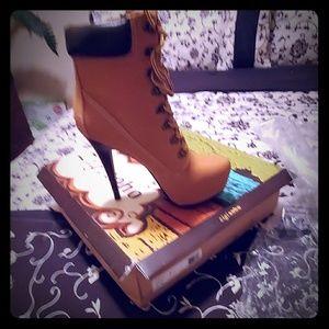 High heel tan tie up boot